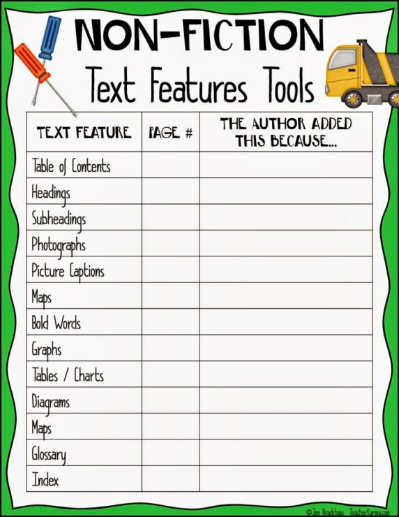 Printables Nonfiction Text Features Worksheets nonfiction text features worksheet 2nd grade davezan non fiction bloggakuten