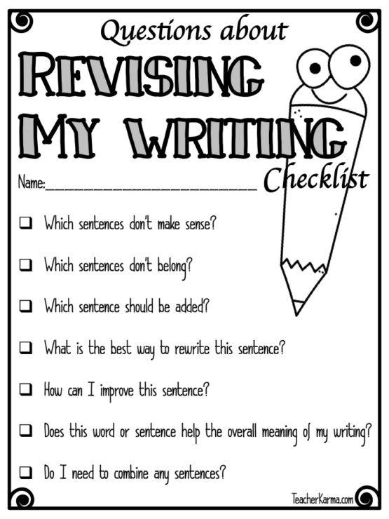 Revising an essay checklist