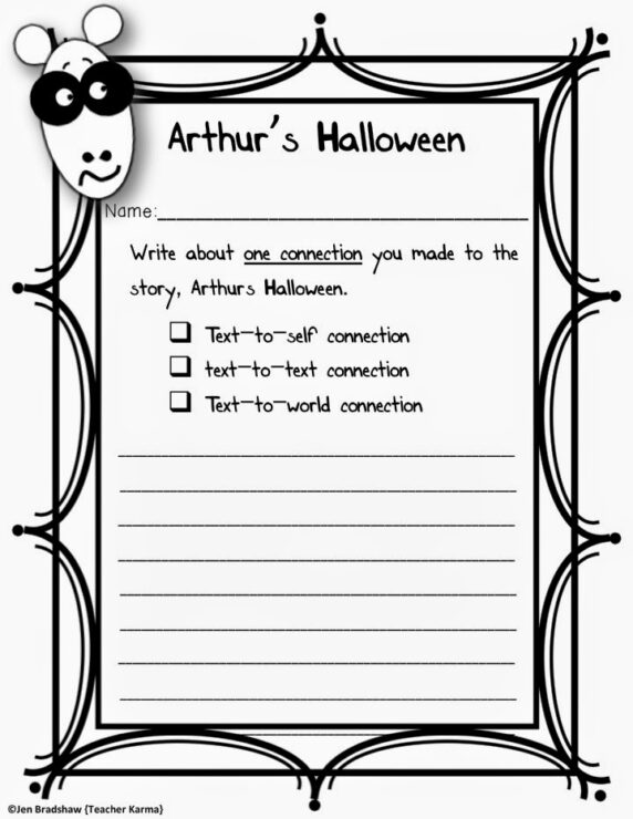 Arthurs Halloween Lets SCARE Up Some FREE FUN Teacher KARMA – Text to Text Connections Worksheet