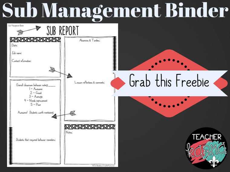 FREE Sub Management Forms for your SUB BINDER. TeacherKarma.com