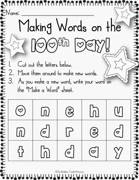 making words on the 100th day of school freebie! - teacher karma