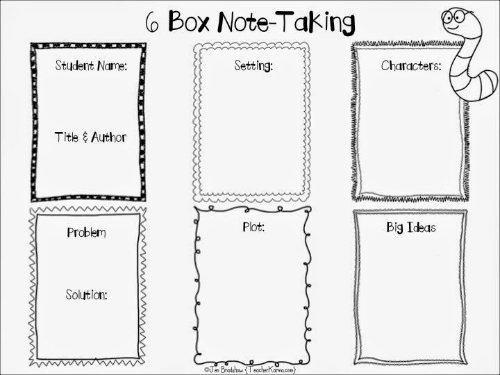 free 6 box note taking strategy and handouts works with any