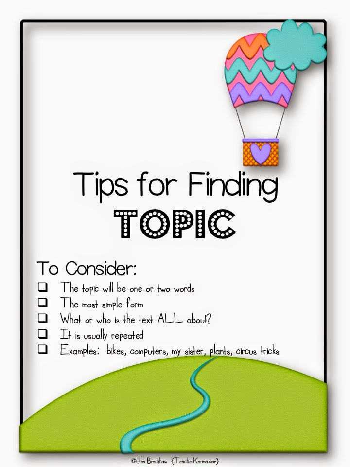 Tips for locating the topic of a text. TeacherKarma.com