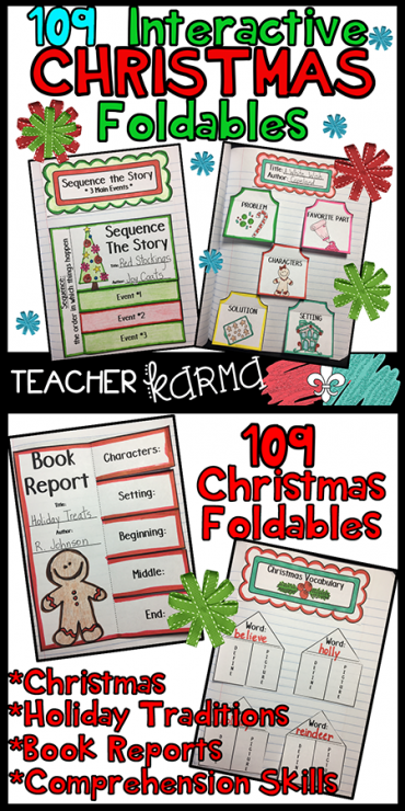 Christmas foldables and interactive notebook