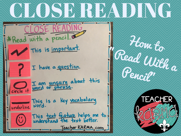 Close Reading Strategy - Read with a Pencil - TeacherKarma.com