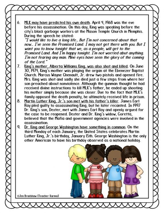 Martin Luther King, Jr. Printable Resource - About MLK
