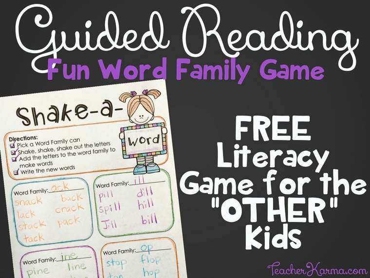 FREE Guided Reading Resource - Word Game for Kids to Play while you are at the GUIDED READING table. TeacherKarma.com