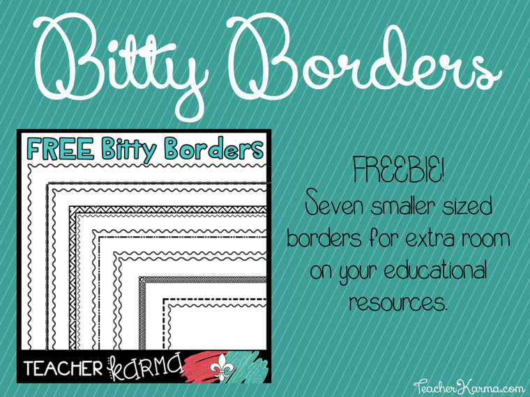 FREE Bitty Borders for Teachers TeacherKarma.com