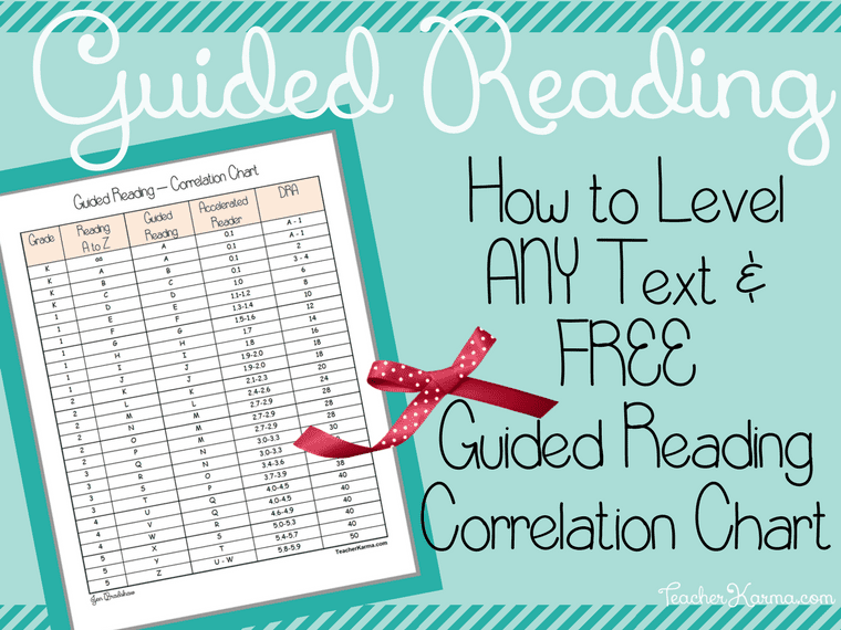 FREE Guided Reading Correlation Chart and How to Level ANY Text! TeacherKarma.com
