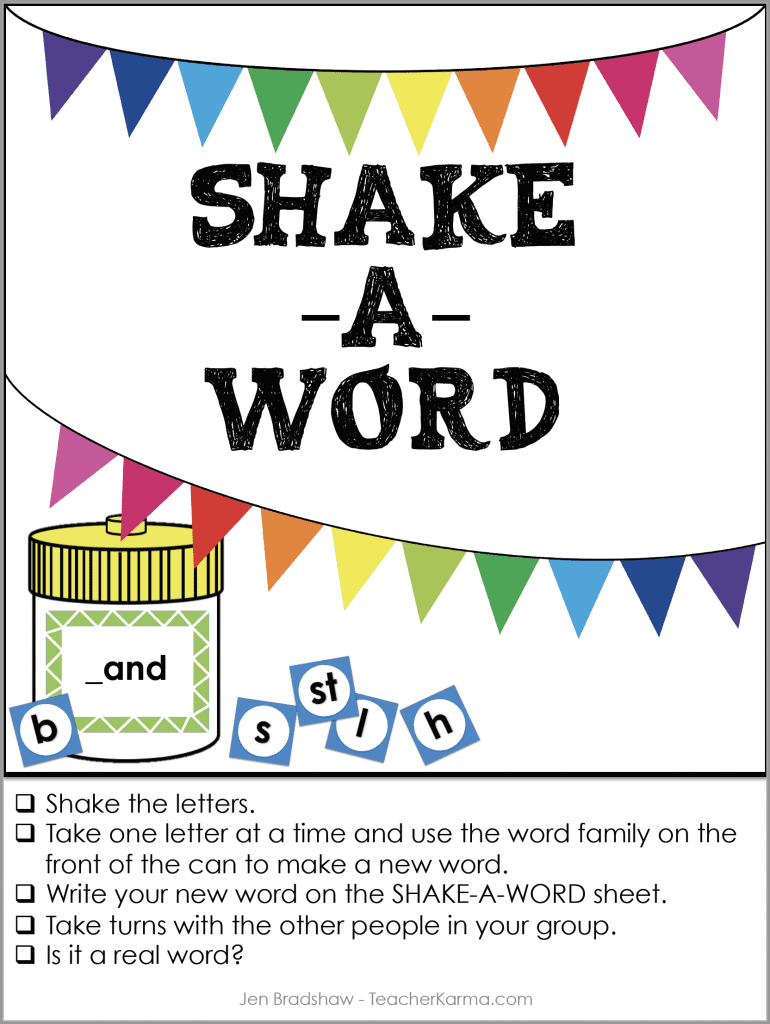 FREE Word Family Game - Shake-a-Word Literacy Center TeacherKarma.com