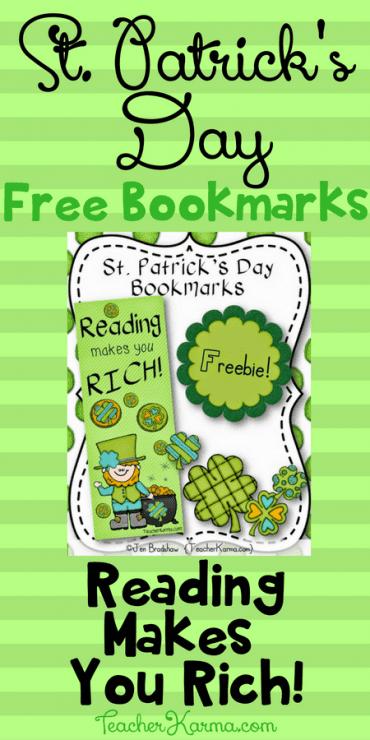 FREE St. Patrick's Day Bookmarks - Reading Makes You Rich! TeacherKarma.com