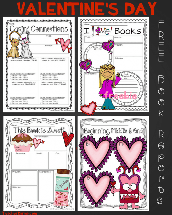FREE Valentine's Day Book Reports to Use with ANY BOOK! TeacherKarma.com