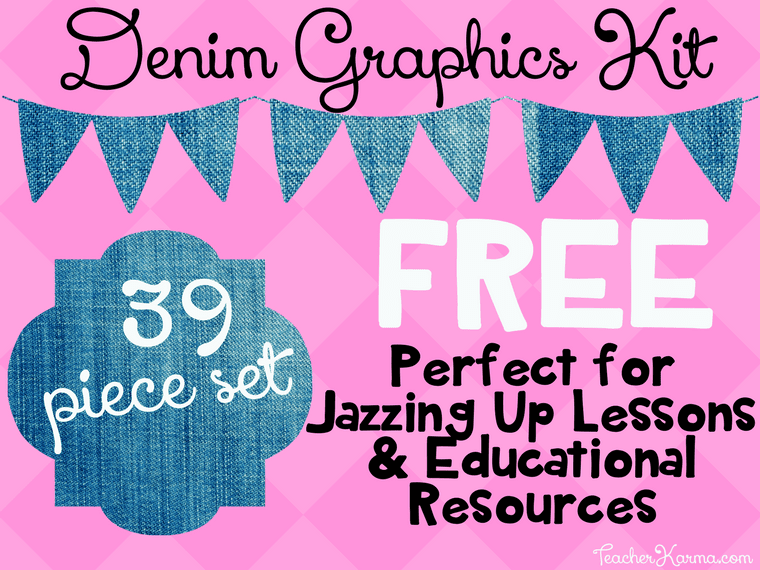 FREE Denim Clipart Kit Perfect for Educational Resources and TpT Products TeacherKarma.com