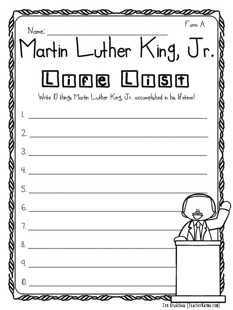 2 Free Martin Luther King Jr Printables Teacher Karma