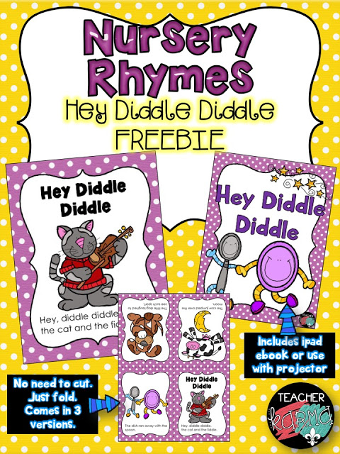 Free Nursery Rhyme Resources / Hey Diddle diddle Free mini book and poster