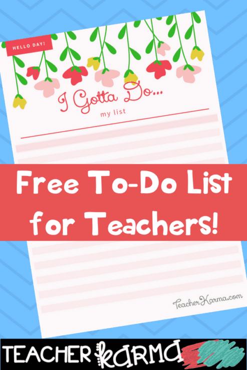 free to do lists for teachers #teacherorganization #organizedteacher #teachertodo #todolist